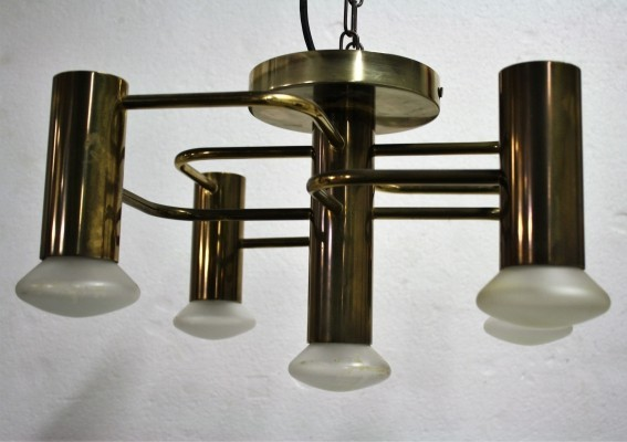 Vintage brass chandelier by Gaetano Sciolari, France 1960's