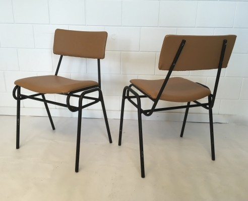 Set of 6 Stackable chairs, 1950s