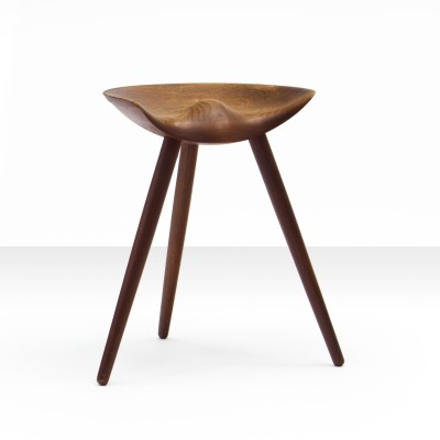 Mogens Lassen stool in solid teak mounted on three tapering legs, Denmark 1942