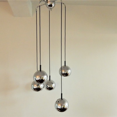 Vintage Space Age chandelier with 5 chrome globes