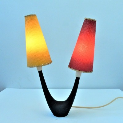 Vintage table lamp with red & yellow shades, 1950's