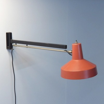 Red 1950's telescope lamp with swing arm by Niek Hiemstra
