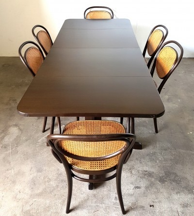 Dining set with 6 chairs by Thonet, 1970s