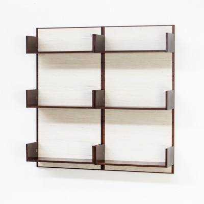 60s Marten Franckema rosewood & seagrass canvas wall unit for Fristho