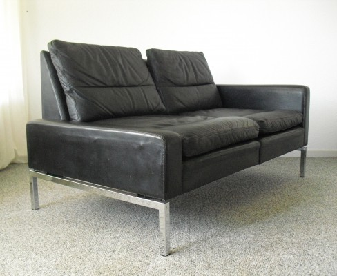 Mid-Century modern Leather Two-Seat Sofa, 1960's