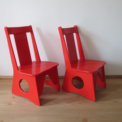 Pair Of Original 1960s Childs Chairs in Red
