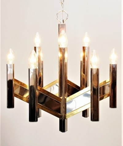 Chandelier by Sciolari in cromed steel & brass with 9 arms