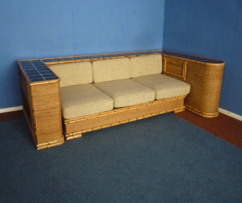 Art Deco Rattan Bamboo Sofa by Arco Germany, 1940s