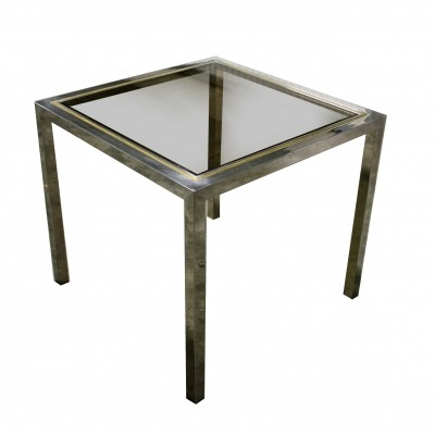 Vintage brass & chrome dining table, 1970s