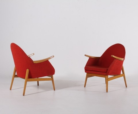 Pair of mid century coral armchairs