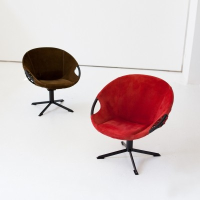Pair of Olive Green And Red Suede Leather Chairs, 1960's