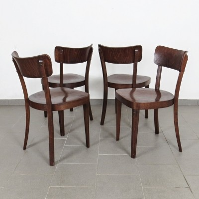 Set of 4 Thonet dinner chairs, 1940s