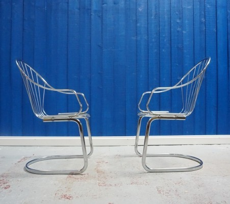 Set of 2 Mid Century Modern Chrome Chairs, 1970s