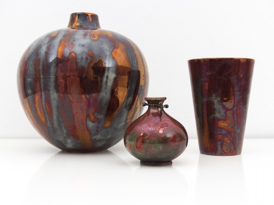 Set of 3 rare 'lustro' ceramics by Guido Andloviz for SCI Laveno, 1930s