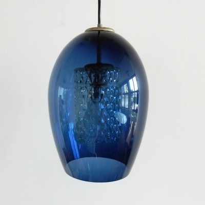 Clear blue glass pendant lamp with inner glass tumbler