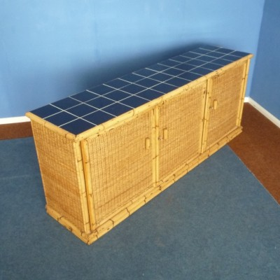 German Art Deco Rattan & Bamboo Sideboard by Arco Germany, 1940s