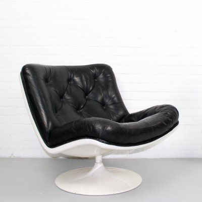 Vintage Artifort Harcourt F976 Black Leather Mid Century Lounge Chair