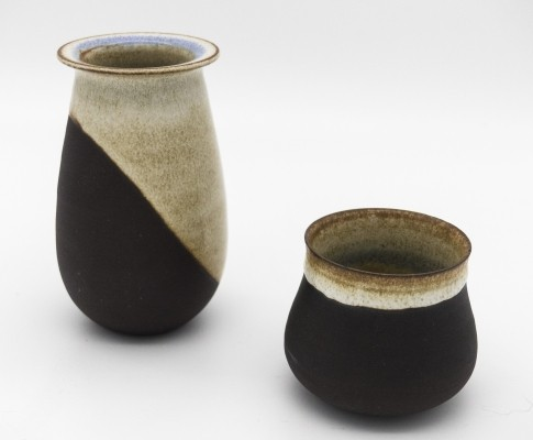 Set of 2 small vases by Nanni Valentini for Ceramiche Arcore, 1970s