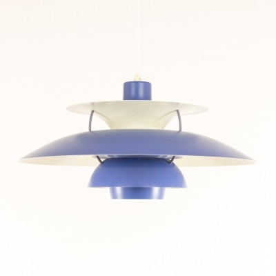 Blue PH 5 pendant by Poul Henningsen for Louis Poulsen, 1950s