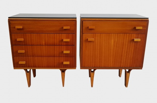 Mid Century veneered oak wood night stands by František Mezulánik for Novy Domov