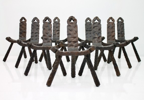 Large Set of Ten Spanish Stools