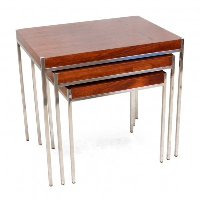 Nest of Three Rosewood & Chrome Tables