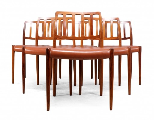Set of 6 Mid Century Rosewood 'model 83' Dining Chairs by Niels O. Møller