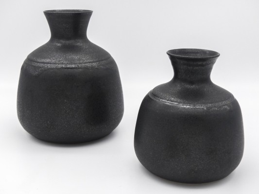 Set of 2 black vases by Nanni Valentini for Ceramica Arcore, 1970s