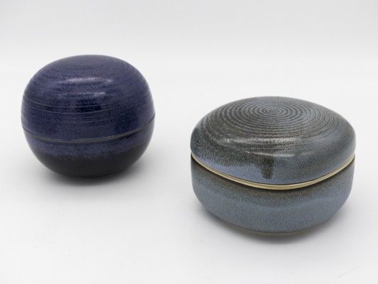 Set of 2 ceramic lidded boxes by Franco Bucci & Nanni Valentini, 1960s