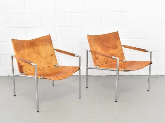 Pair of SZ02 lounge chairs by Martin Visser for Spectrum, 1980s