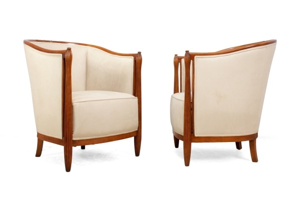 A Pair of French Art Deco Salon Chairs by Paul Folllot, c1925