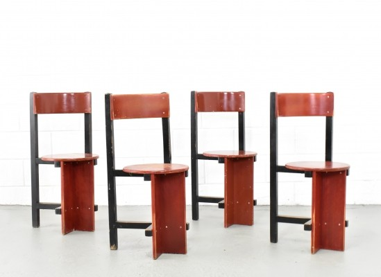 Set of 4 Bastille dining chairs by Piet Blom, 1960s