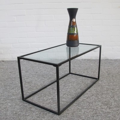 Vintage metal wire glass side table, 1960s