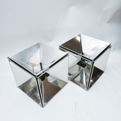 Pair of Mirror Cube lamps, 1970s