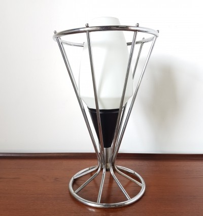 Space age chrome & opaline glass table lamp, 1960s