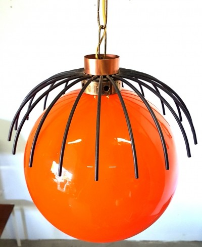 Orange glass & metal spider lamp, 1960s