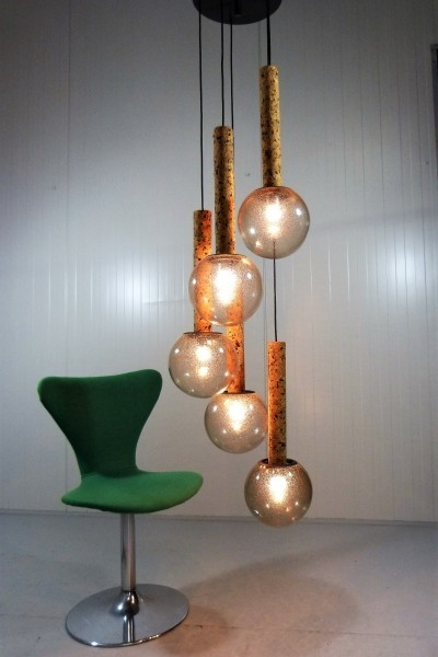 Big Cascading Lamp with Smoked Glass & Cork