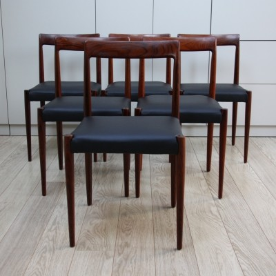 Set of 6 'Model 77' Niels Otto Møller dining chairs in rosewood & black leather, 1960s