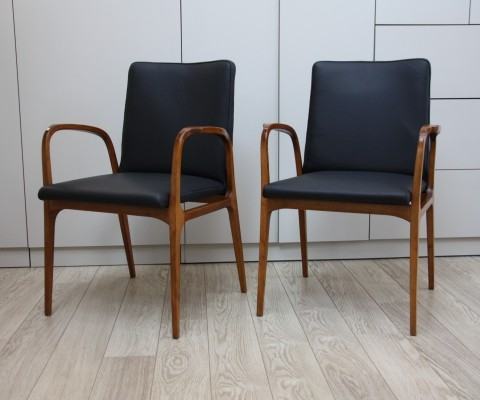 Pair of armchairs in black leather by Brune, 1960's