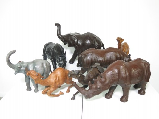 Set of 8 leather souvenir animals, 1960s