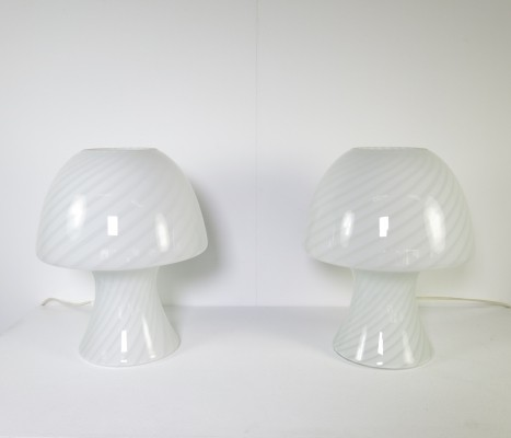 Beautiful set of two glass mushroom lamps by Murano Vetri, Italy, ca 1970