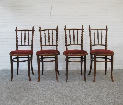 Set of 4 Thonet Chairs by Fischel, 1920s