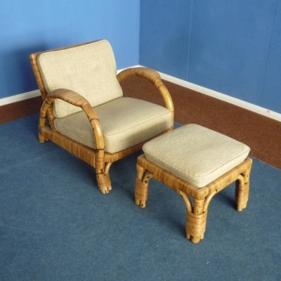 German Rattan & Bamboo Armchair & Footstool by Arco, 1940s
