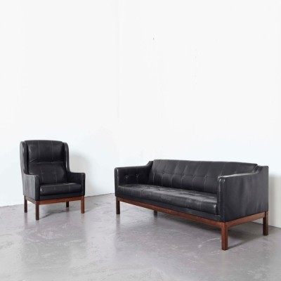 Pastoe leather Sofa + Wing Chair, 1960s