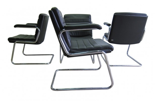 Vintage leather & chrome office chairs by Drabert
