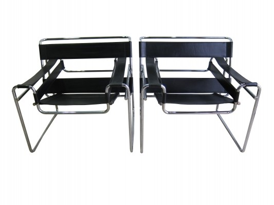 Pair of vintage B3 'wassily' chairs by Marcel Breuer for Gavina, 1960s