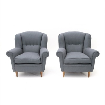 Pair of Italian Armchairs with Conical Shape Legs, 1950s