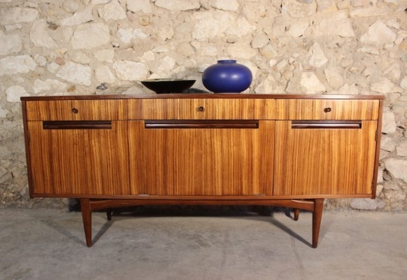 Vintage sideboard in zebrano & teak by Elliotts of Newbury, 1963