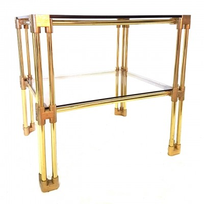 Brass two tier side table, Hollywood regency 1970s