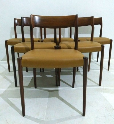 Number 77 Rosewood Dining Chairs by Niels O. Møller for J.L. Møllers, 1960s